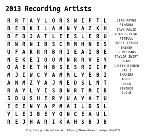 Word Search on 2013 Recording Artists