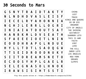 Word Search on 30 Seconds to Mars