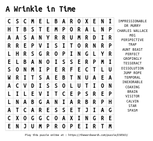 Word Search on A Wrinkle in Time