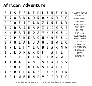 Word Search on African Adventure