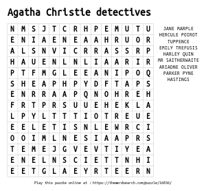 Word Search on Agatha Christie detectives