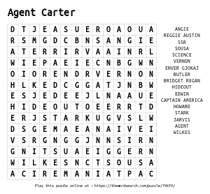 Word Search on Agent Carter