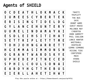 Word Search on Agents of SHIELD