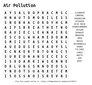 Word Search on Air Pollution