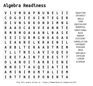 Word Search on Algebra Readiness