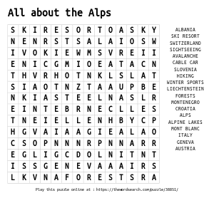 Word Search on All about the Alps