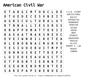 Word Search on American Civil War