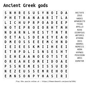 Word Search on Ancient Greek gods