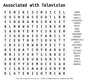 Word Search on Associated with Television