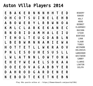 Word Search on Aston Villa Players 2014