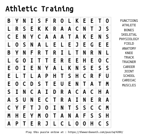 Word Search on Athletic Training