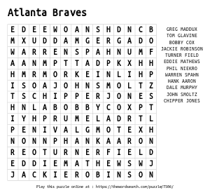 Word Search on Atlanta Braves