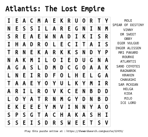 Word Search on Atlantis: The Lost Empire