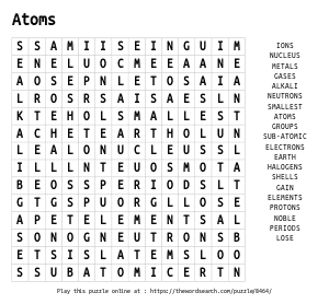 Word Search on Atoms