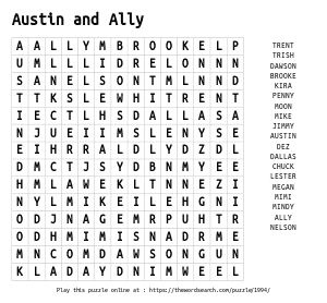 Word Search on Austin and Ally