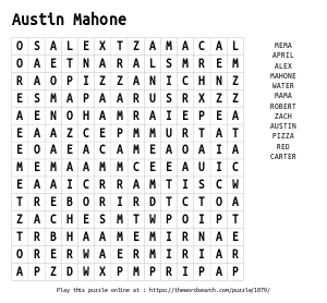 Word Search on Austin Mahone