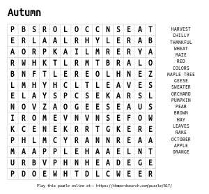 Word Search on Autumn