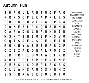 Word Search on Autumn Fun