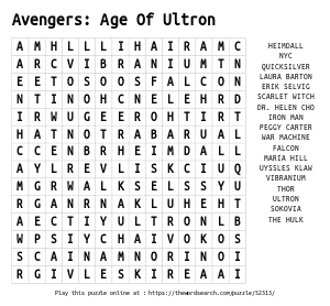 Word Search on  Avengers: Age Of Ultron