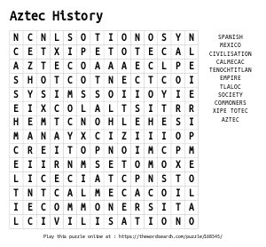 Word Search on Aztec History