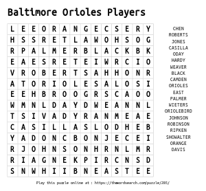 Word Search on Baltimore Orioles Players