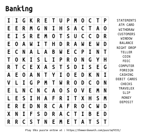 Word Search on Banking
