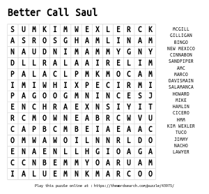 Word Search on Better Call Saul