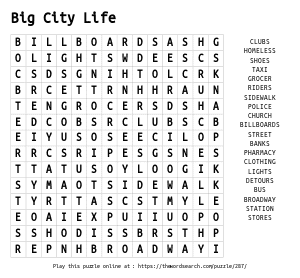 Word Search on Big City Life