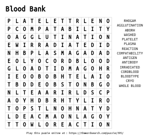 Word Search on Blood Bank
