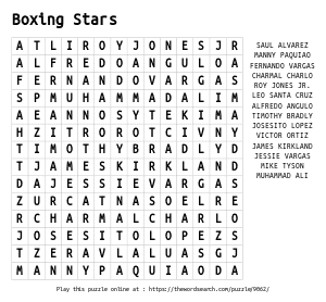 Word Search on Boxing Stars