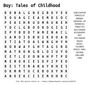 Word Search on Boy: Tales of Childhood