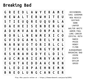 Word Search on Breaking Bad