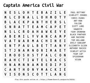Word Search on Captain America Civil War