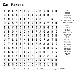 Word Search on Car Makers