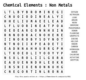 Word Search on Chemical Elements : Non Metals