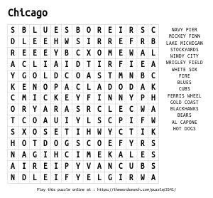Word Search on Chicago