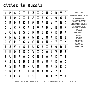 Word Search on Cities in Russia