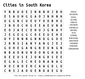 Word Search on Cities in South Korea