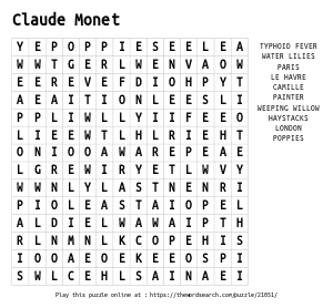 Word Search on Claude Monet