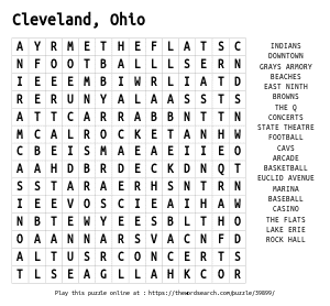 Word Search on Cleveland, Ohio