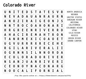 Word Search on Colorado River