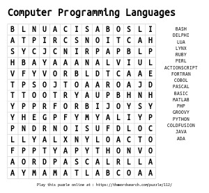 Word Search on Computer Programming Languages