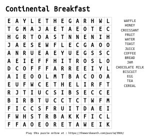 Word Search on Continental Breakfast
