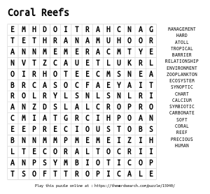 Word Search on Coral Reefs
