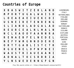 Word Search on Countries of Europe