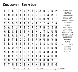 Word Search on Customer Service