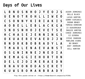 Word Search on Days of Our Lives