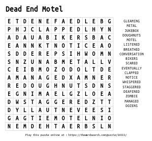 Word Search on Dead End Motel