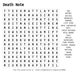 Word Search on Death Note