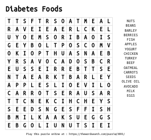 Word Search on Diabetes Foods